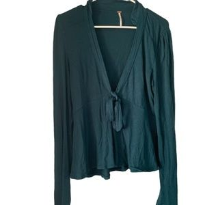 Free People Tie Front Vneck Long Sleeve Top Teal